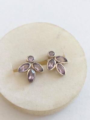 Cercei Argint cu AMETIST - Petale  de floare foto
