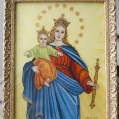 Fecioara Maria cu Pruncul Iisus Icoana catolica pe sticla semnata si datata
