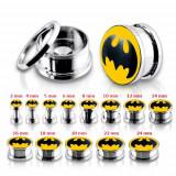 Cumpara ieftin Plug tunel pentru ureche, din oţel, Batman - Lățime: 12 mm