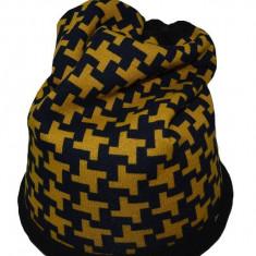 Caciula tinereasca de toamna, iarna, de culoare galben-negru