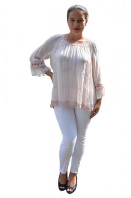 Bluza Anastasia rafinata cu insertii fine de dantela ,nuanta de pudra foto