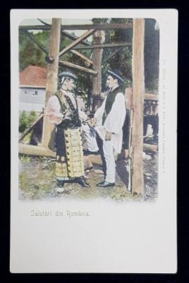 SALUTARI DIN ROMANIA - BARBAT SI FEMEIE IN COSTUM POPULAR , CARTE POSTALA ILUSTRATA ,POLICROMA , NECIRCULATA , CLASICA foto
