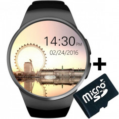 Ceas Smartwatch cu Telefon iUni KW18, Touchscreen 1.3 Inch, Notificari, iOS, Android, Black + Card MicroSD 4GB Cadou
