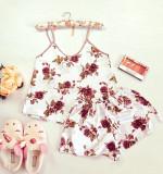 Pijama dama ieftina primavara-vara alba din satin lucios cu imprimeu trandafir maro