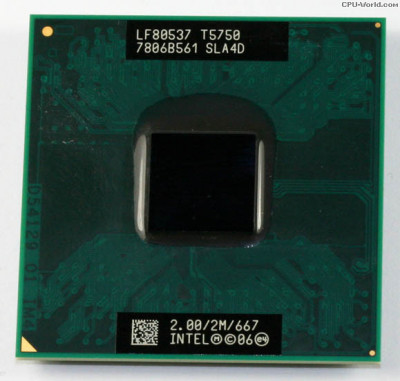 procesor laptop Intel Core 2 Duo Processor T5750 2.00 GHz 667 MHz FSB Socket P foto