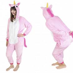 Costum Unicorn cu gluga pentru carnaval sau petreceri, marime XL, culoare Roz