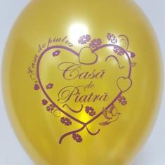 Baloane nunta Casa De Piatra metalizate 30cm Auriu Burgundy set 20 buc