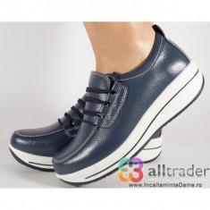 Pantofi bleumarini piele naturala talpa convexa (cod AC019-26)