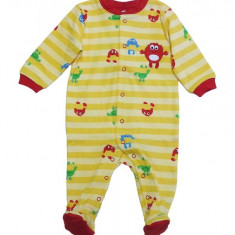 Salopeta / Pijama bebe cu dungi si desene Z120, 1-2 ani, 1-3 luni, 12-18 luni, 3-6 luni, 6-9 luni, 9-12 luni, Galben