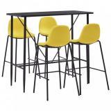 Set mobilier de bar, 5 piese, galben, material textil, vidaXL