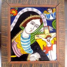 Icoana pe sticla , Maica Domnului si Iisus Hristos rastignit , sec XIX
