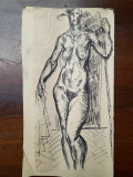 42. Nud femeie - schita veche , desen vechi in tus