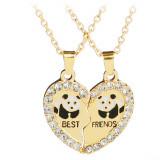 Pandantiv / Colier / Lantisor - BFF Best Friends - Urs Panda 2 Buc/Set - Auriu