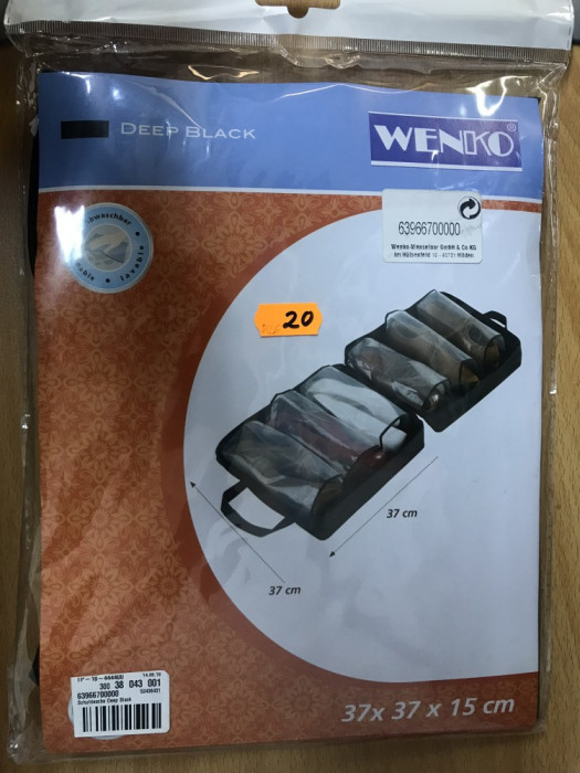 Organizator papuci , 3 perechi , WENKO Deep Black 37X37X15 cm