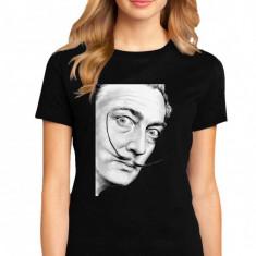 Tricou dama negru - Dali - Portret, 2XL, L, M, S, XL
