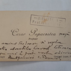 Autograf pe carte de vizita Cezar Papacostea