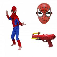 Set costum Spiderman Infinity pentru copii, L, 120 - 130 CM, 7 - 9 ani masca de plastic si pistol incluse