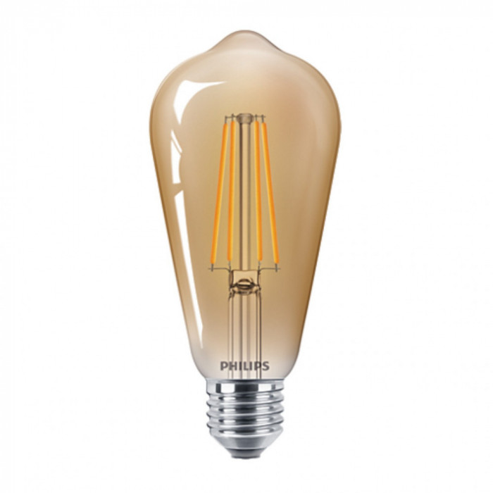 Bec LED Filament Philips 5.5W(48W) E27 ST64 600 lm 2500K Vintage Gold