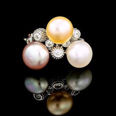 Inel din Argint 925 cu Perle Naturale si Diamante, Harmony