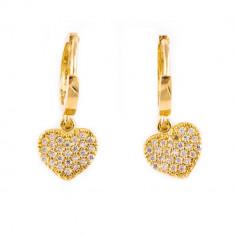 Cercei inimă aur galben C91, 14k
