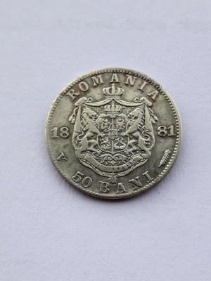 ROMANIA - 50 Bani 1881 . Argint . Piesa mai rara. foto