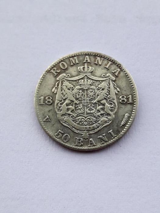 ROMANIA - 50 Bani 1881 . Argint . Piesa mai rara.