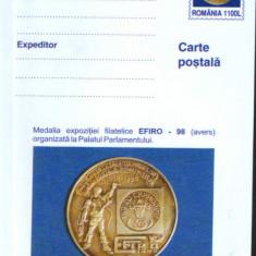 Romania - Intreg postal CP necirculat 2001- Medalia Expozitiei Filat. EFIRO 1998