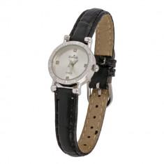 Ceas de mana Estrela, analogic, mecanism quartz, pentru femei , placat cu argin,curea neagra