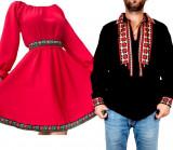 Cumpara ieftin Set Cuplu Traditional 86 Camasa Traditionala si Rochie cu motive traditionale