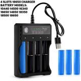 Incarcator universal Li-Ion pentru acumulatori 18650 cu 4 porturi si alimentare prin USB
