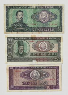 Romania, lot trei bancnote: 10 lei_25 lei_50 lei 1966_uzate foto