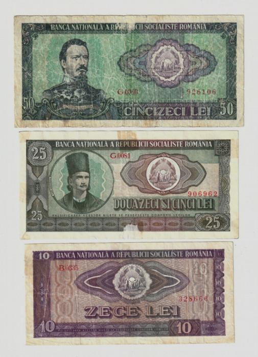 Romania, lot trei bancnote: 10 lei_25 lei_50 lei 1966_uzate