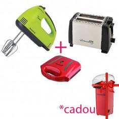 Pachet Bucătărie! Mixer de mână+Sandwich Maker+ Prăjitor de pâine și CADOU Aparat de Popcorn, Hausberg
