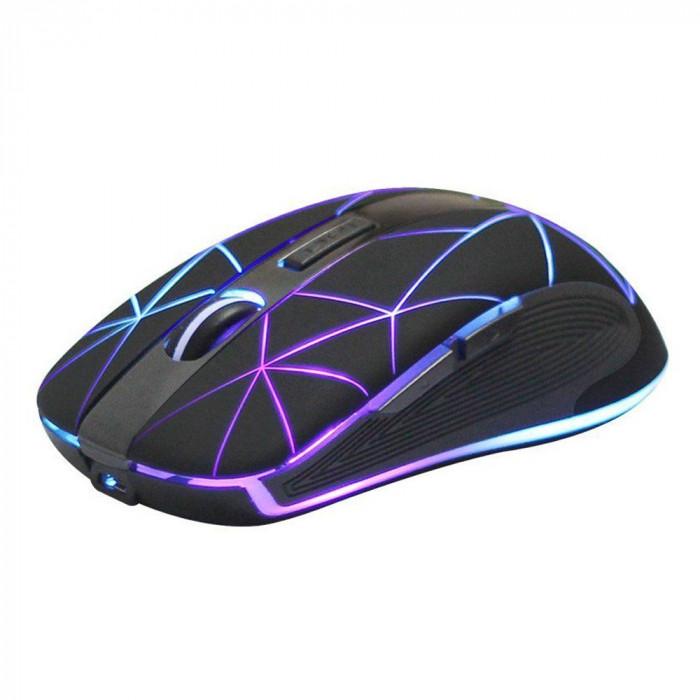 Mouse optic Wireless reincarcabil, iluminat LED, USB, 1600 DPI, 5 butoane, Rii