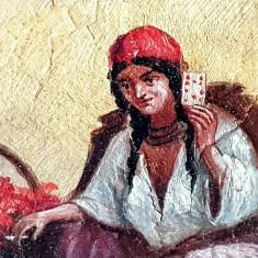 Tablou - pictura veche - tiganca ghicitore tarot, Scene gen, Ulei, Realism
