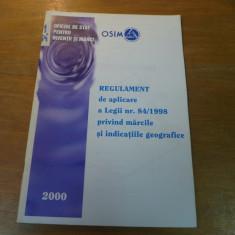 Regulament de aplicare a legii nr. 84 / 1998 privind marcile si indicatiile 2000