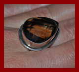 inel argint 925 MASIV CU PIATRA DE CUART FUMURIU ! PEAR CUT