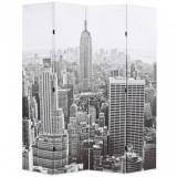 Paravan cameră pliabil, 160x170 cm, New York pe zi, alb/negru, vidaXL