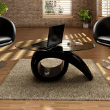 Măsuță de cafea cu blat oval din sticlă, negru lucios, vidaXL