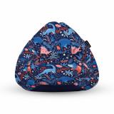 Cumpara ieftin Fotoliu Units Puf (Bean Bag) tip para, impermeabil, cu maner, 80 x 90 x 68 cm, dinozauri nocturni