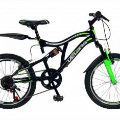 Bicicleta copii MTB FS 20 FIVE Honedge cadru otel culoare negru verde varsta 7 10 ani