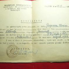 Adeverinta- Diploma a Centrului de Perfectionare a Cadrelor Didactice 1962