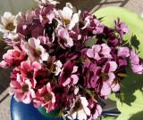 Buchet flori artificiale - BANUTEI  10  PC , H 32 cm   PEACH, MOV, CORAI,CREM