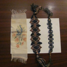 GE - Lot 3 semne de carte vechi din material textil