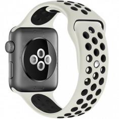 Curea pentru Apple Watch 38 mm Silicon Sport iUni Crem-Negru