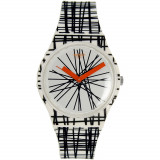 Ceas Swatch dama Originals GW183 negru alb multicolor Rubber Analog Quartz Fashion