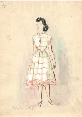 desen Caterina II, costum spectacol, tehnică mixta 21x29 cm, teatru, scenografie foto