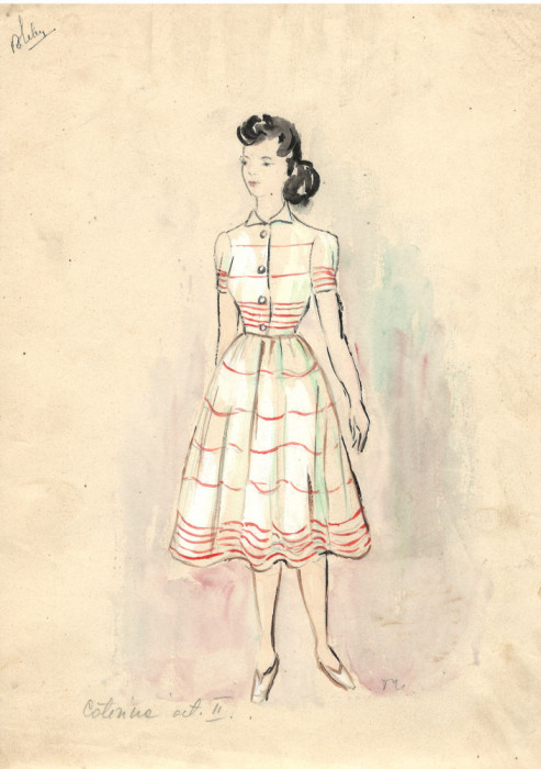 desen Caterina II, costum spectacol, tehnică mixta 21x29 cm, teatru, scenografie