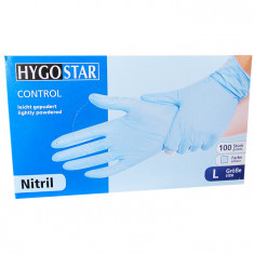 Manusi nitril Control marimea L, albastre, 100 bucati/cutie, usor pudrate