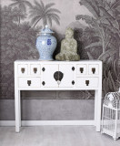 Consola exotica din lemn masiv alb  MAY010